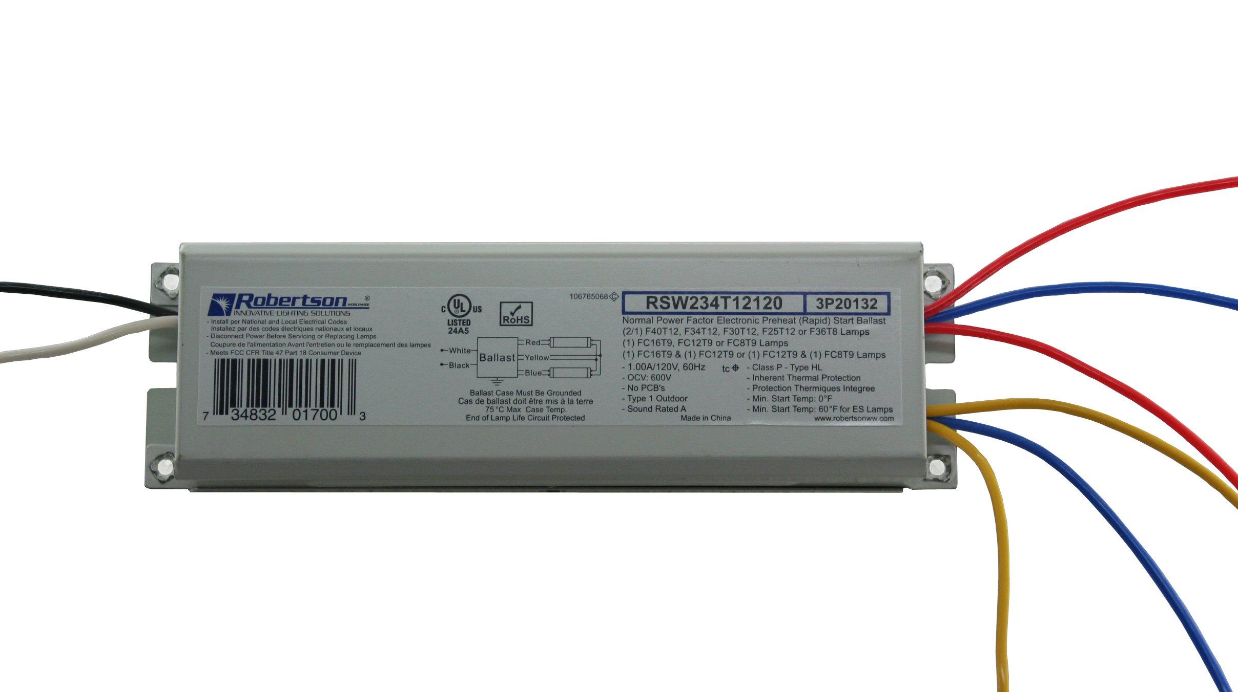 ROBERTSON 3P20132 Fluorescent eBallast for 2 F40T12 Linear Lamps, Preheat- Rapid Start, 120Vac, 50-60Hz, Normal Ballast Factor, NPF, Model RSW234T12120/A (Crosses to 3P20010 Model RSW240T12120/B)