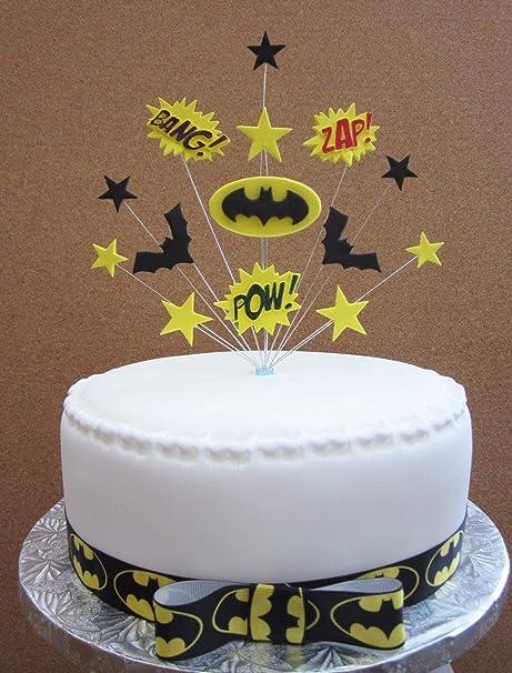Batman Superhero Birthday Cake Topper Suitable For A 20cm PLUS 1 X Metre Grosgrain