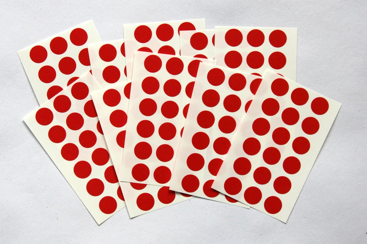 Sticky Coloured Self Adhesive Dots for Colour Coding 175 Red Round Stickers