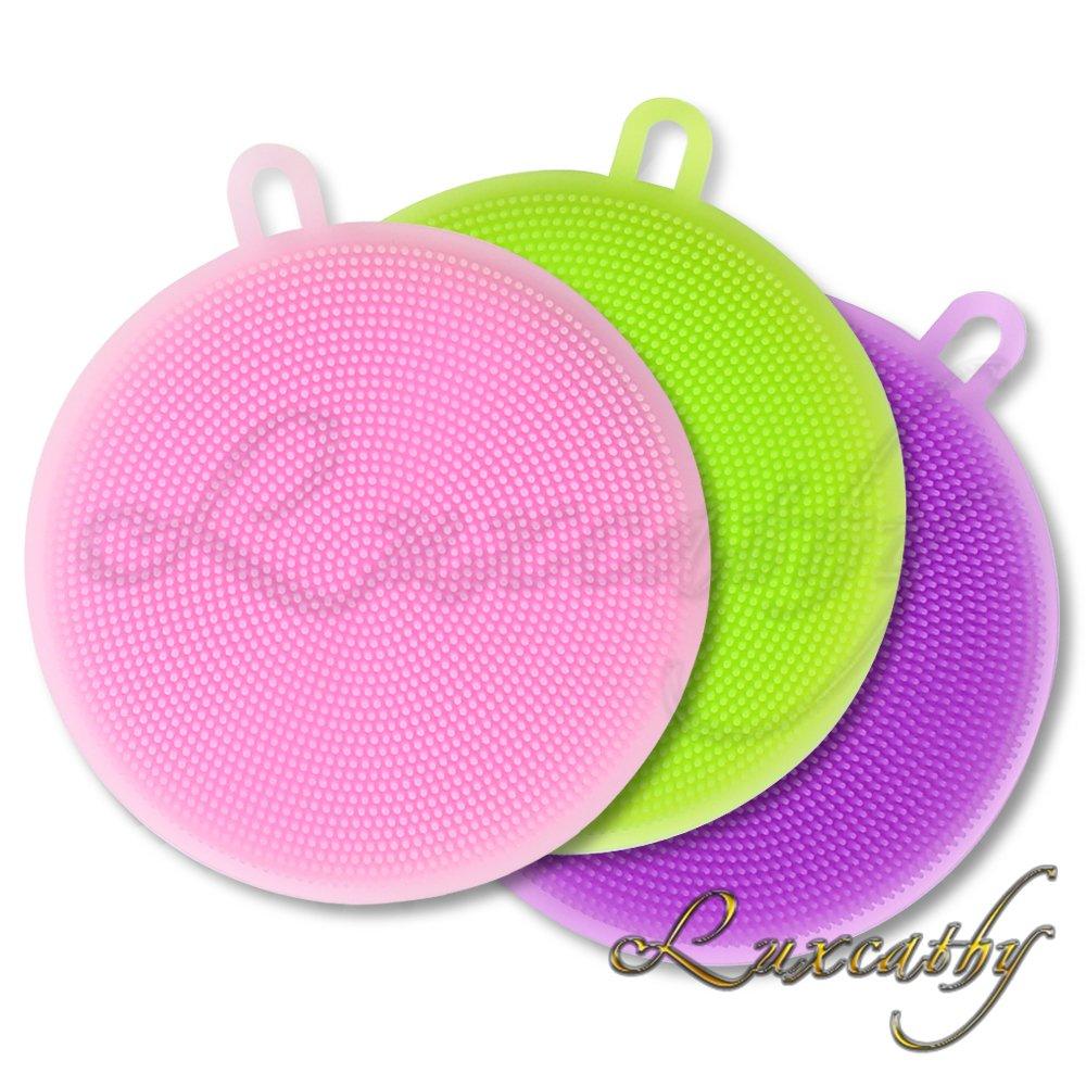 Luxcathy 3 Pack Silicone lavaggio spugna antibatterica per piatto, frutta, verdura e pulizia resistente al calore Mat, 4 '5 diametro rotondo (Green+Purple+Pink) 4 5 diametro rotondo (Green+Purple+Pink)