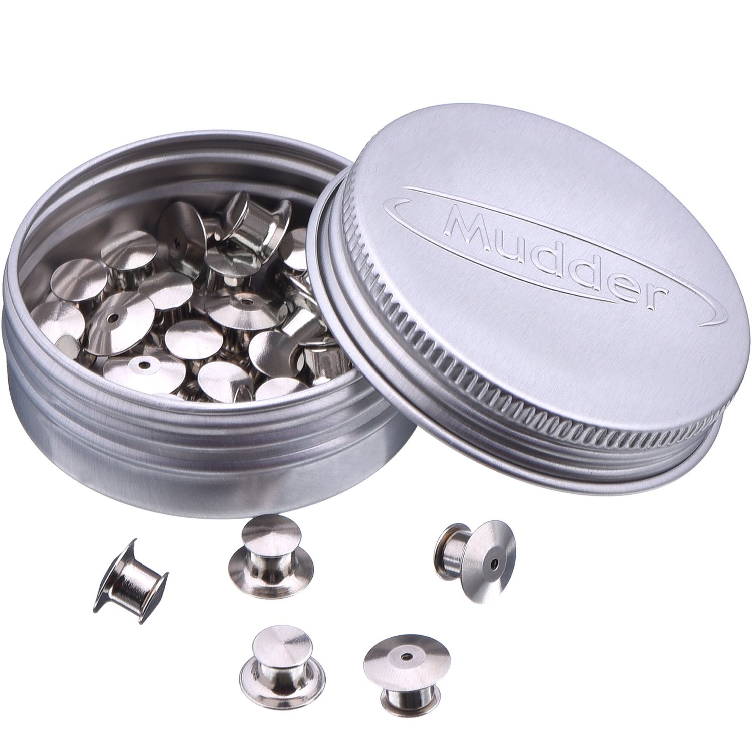 Mudder 30 Pieces Locking Pin Keepers Backs, No Tool Required (Silver and Gold) 4336828600