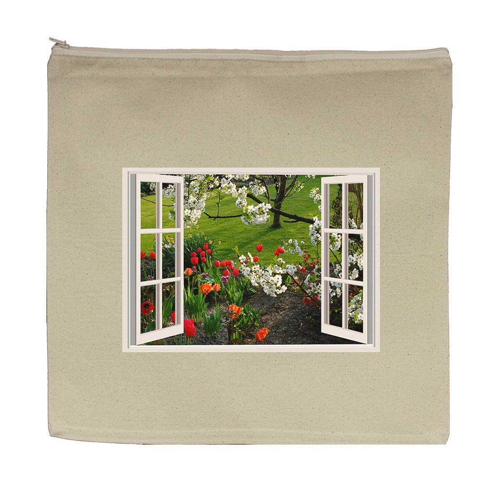 Canvas Zipper Pouch 5.5''X7.5'' A Beatiful Spring Day Open Window Style In Print