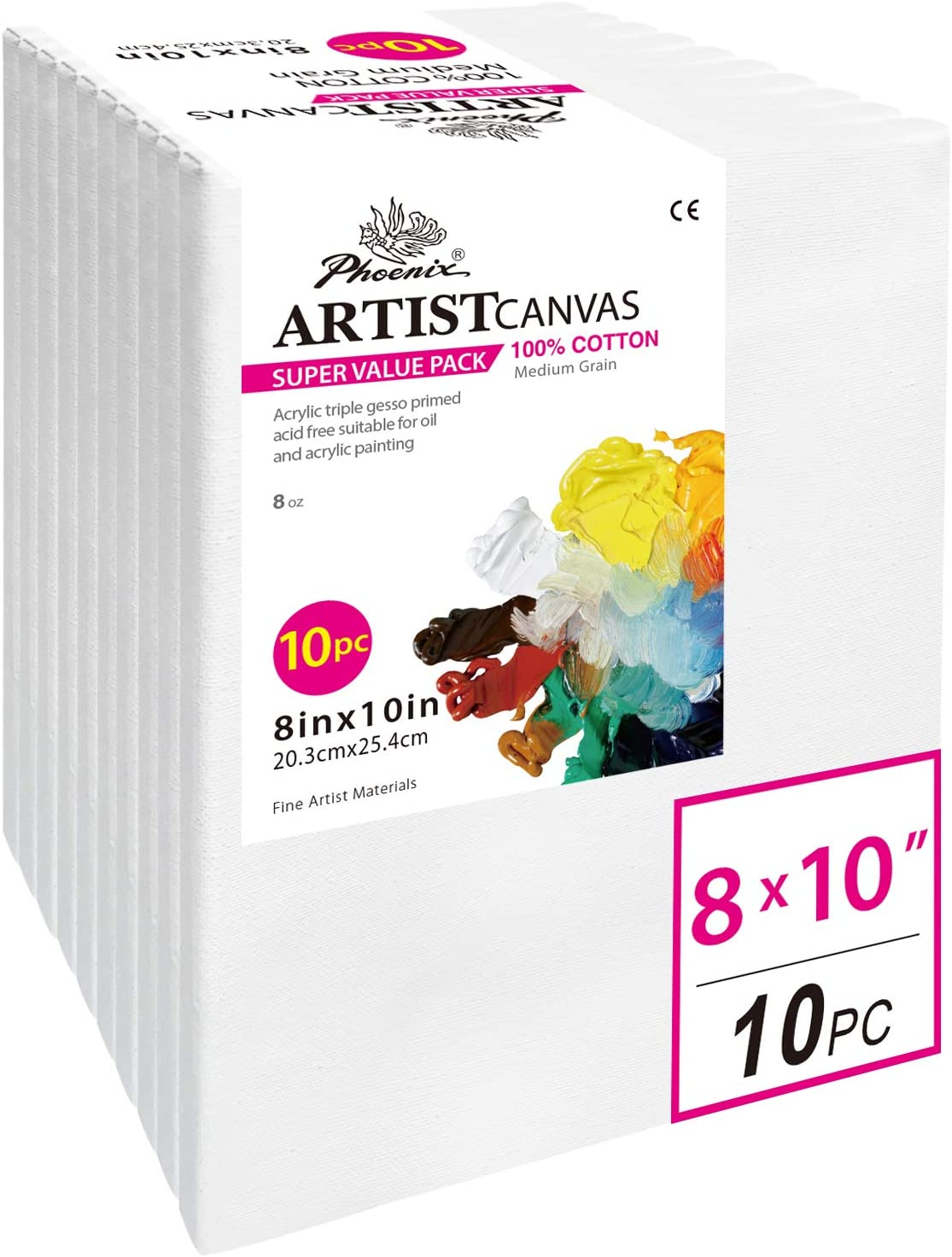 PHOENIX Pre Stretched Canvas for Painting - 8x10 Inch / 10 Pack - 5/8 Inch Profile of Super Value Pack for Oil & Acrylic Paint