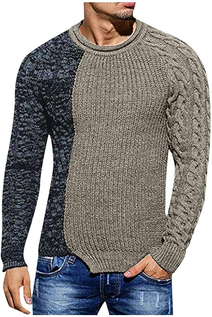 Long-Sleeved Slim fit Hoodie Men/'s Knitted Pullover Patchwork Sweater Blouse Top Basic Hoodie-Sweater FEISI22