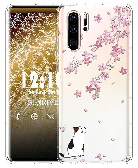 Sunrive Für Huawei P30 Pro Hülle Silikon, Transparent Handyhülle Luftkissen Schutzhülle Etui Case für Huawei P30 Pro(TPU Blum