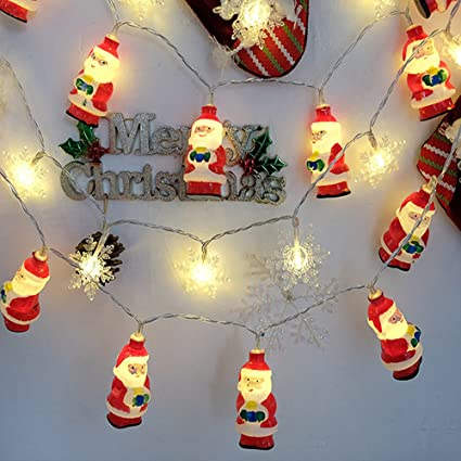 santa claus lamp string lights 10led 20led christmas battery light strands for wedding party home garden