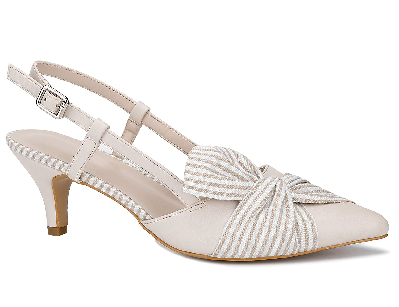 Greatonu Damen Sandalen Schleife Kitten Absatz Slingback Pointed Toe Beige Streif