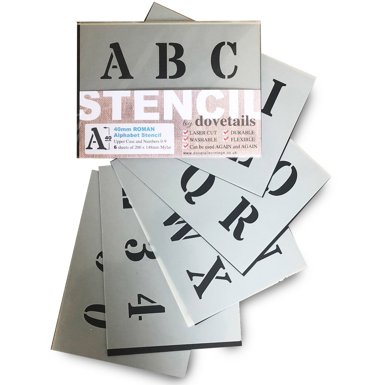 Alphabet Stencil Letters & Numbers 0-9 40mm Tall 1.57