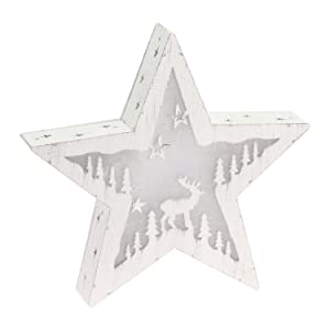 Xmas King Estrella de Madera, Paisaje Iluminado, 30 cm, 10 LED luz cálida, Estrella de Navidad, Decoraciones Luminosas a Pilas