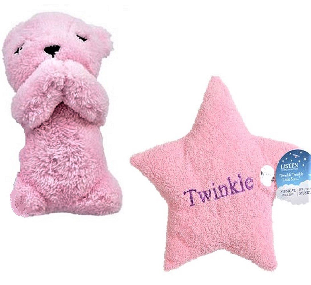 Pink Plush Musical Prayer Bear and Star Pillow Twinkle Twinkle and Now I Lay Me Down To Sleep Gift Set