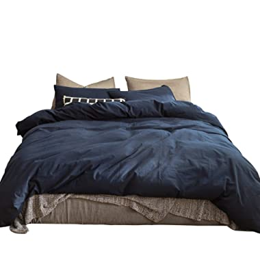 SUSYBAO 3 Pieces Duvet Cover Set 100% Natural Washed Cotton Navy Blue King Size 1 Duvet Cover 2 Pillowcases Luxury Ultra Soft Comfortable Durable Lightweight with Ties Bedding Set with Zipper Ties