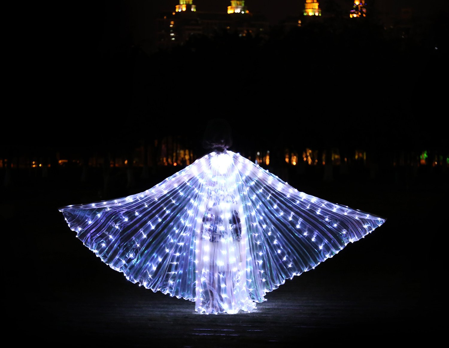 Dance Fairy Belly Dance LED Isis Wings with Stick(White) by Dance Fairy (Image #5)