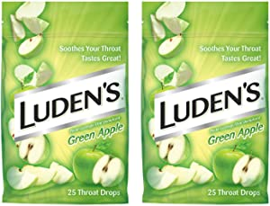 Luden's Green Apple Cough Throat Drops, Soothes Your Throat & Tastes Great, 25 Drops (2-Bags)