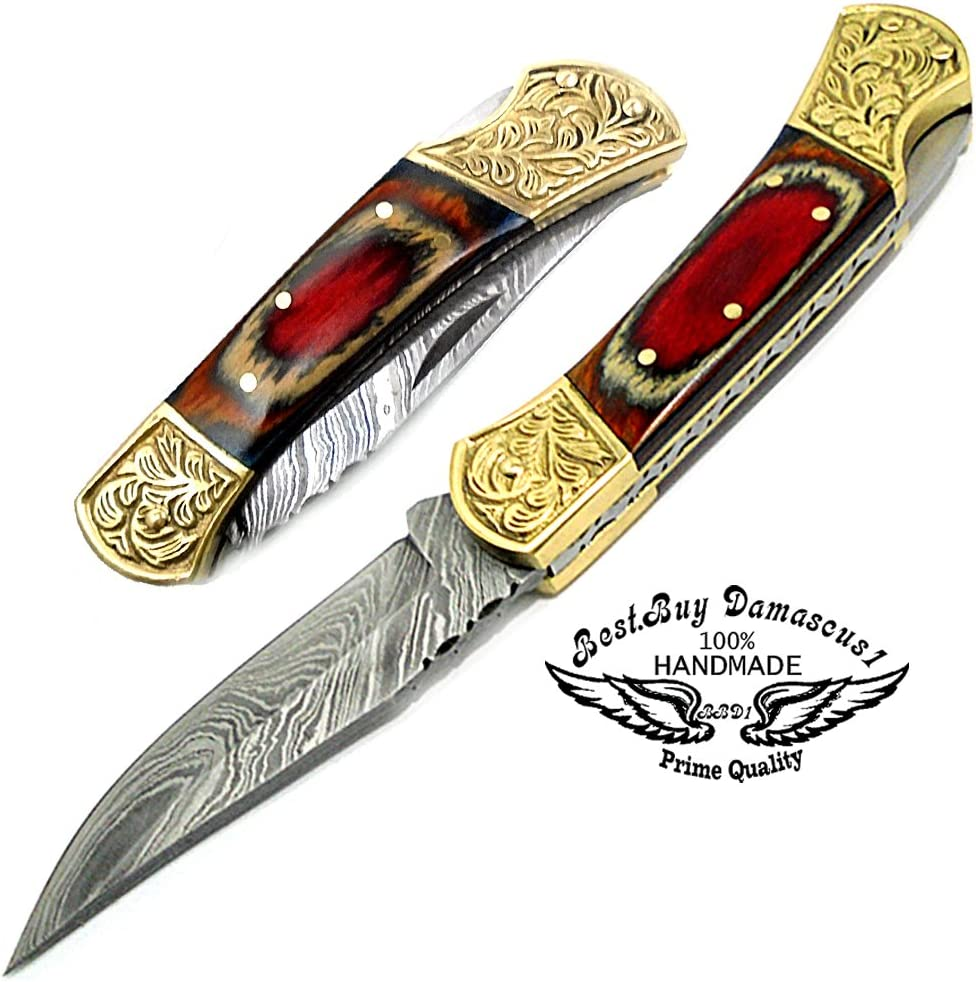 Orange Wood Double Bolster Scrimshaw Work 7.6 Handmade Damascus Steel Folding Pocket Knife