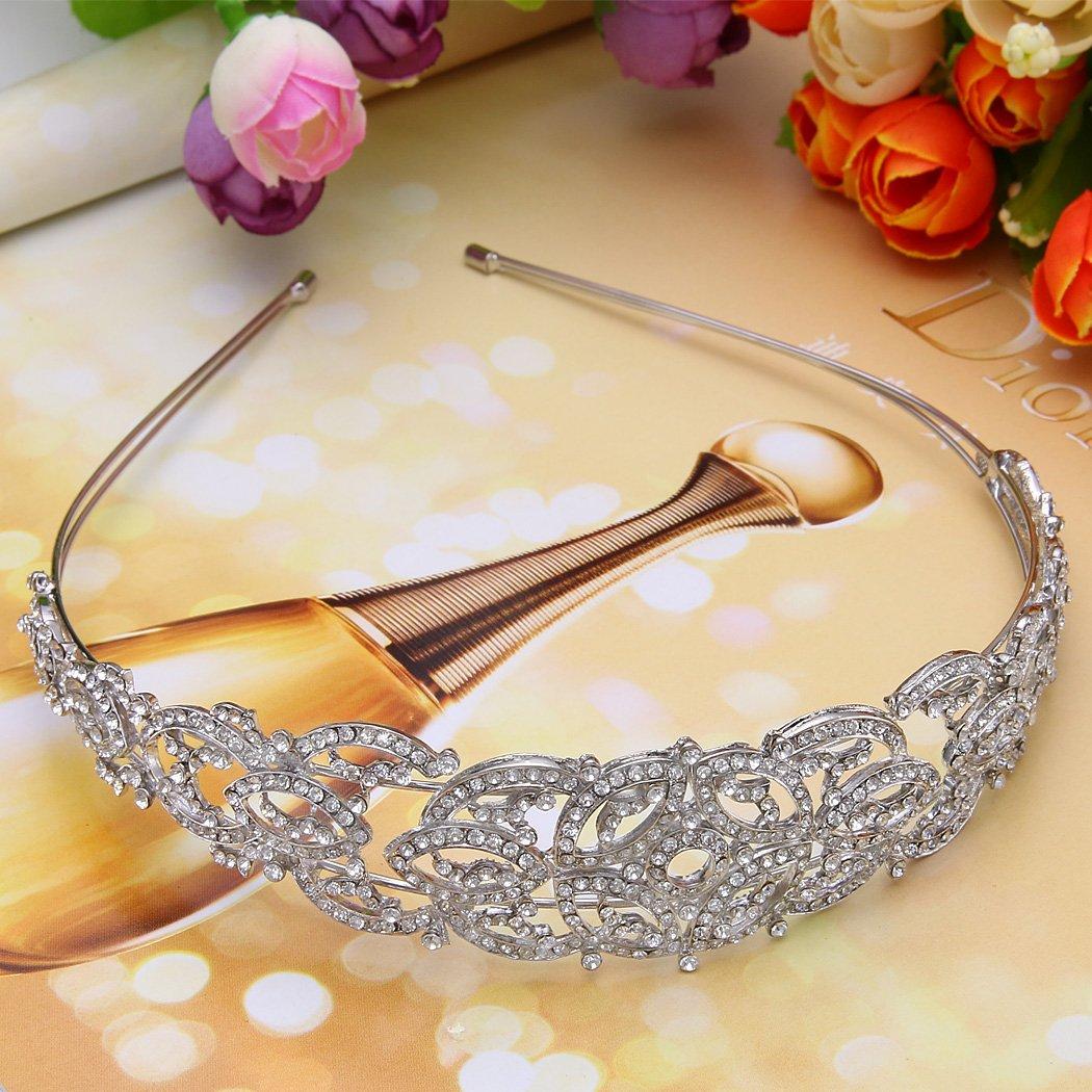 EVER FAITH Womens Austrian Crystal Wedding Art Deco Hollow-Out Floral Hair Band Clear Silver-Tone
