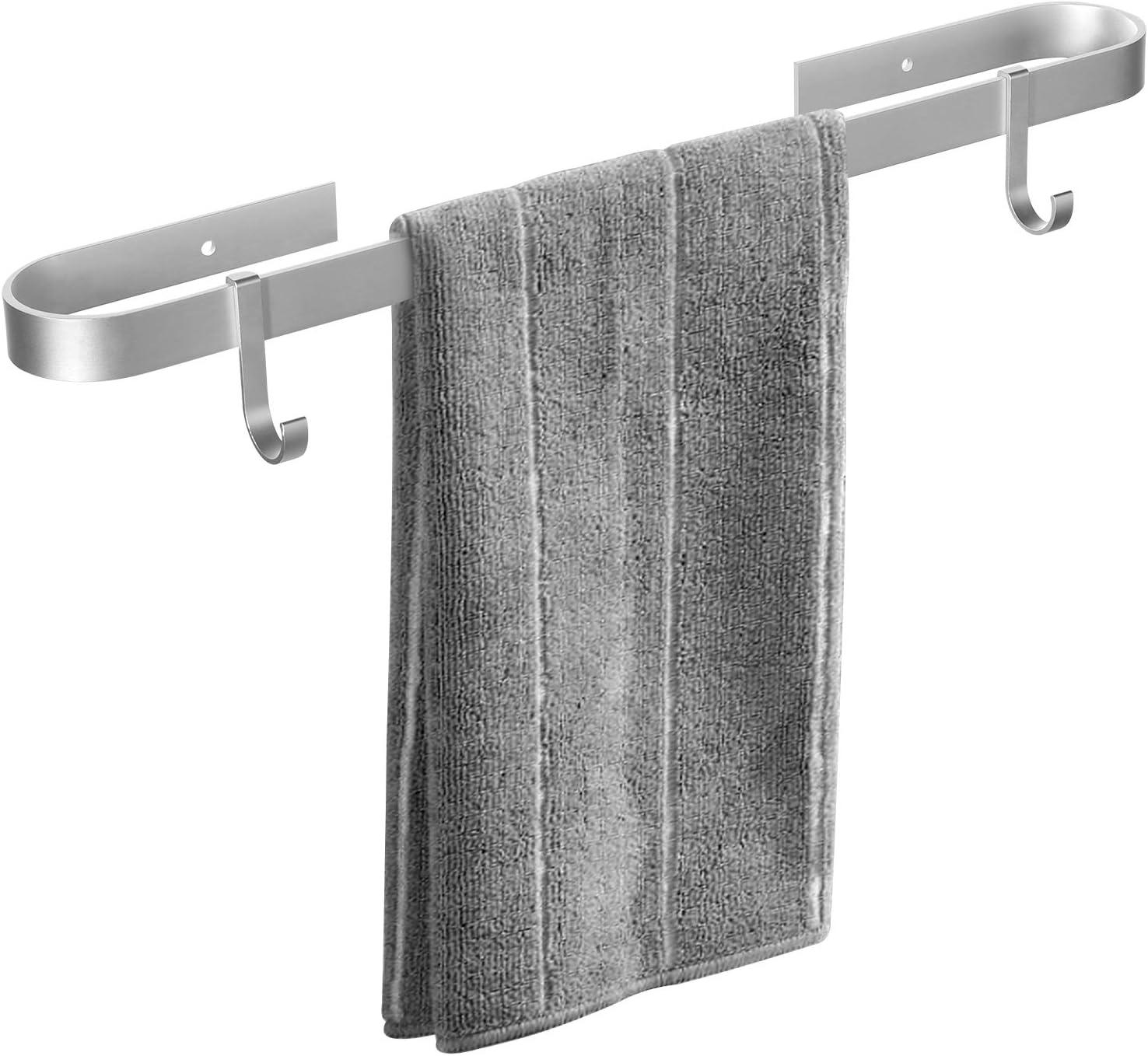 Qeekzeel Handtuchhalter Bad Ohne Bohren Handtuchstange Selbstklebend Handtuchhalter Aluminium mit 2 Haken f/ür Badezimmer und K/üche 40cm
