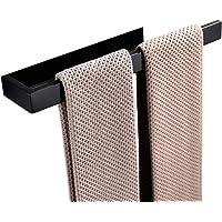 Celbon 25CM RVS Handdoekrails Zelfklevende Handdoekenrek Geen Boren Handdoekring (Zwart, Zelfklevend 35CM)