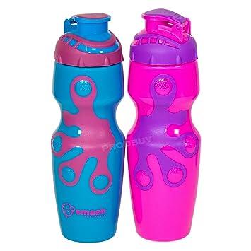 Set de 2 Color plástico libre de BPA botellas de agua 650 ml para niños deporte
