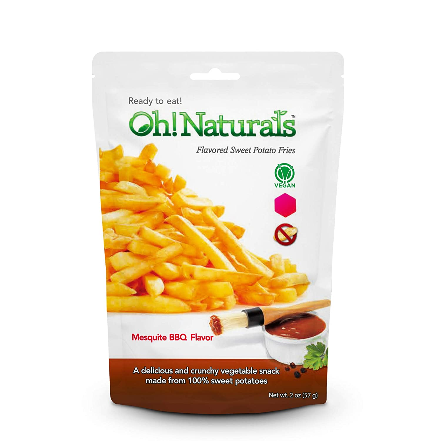 Oh! Naturals Mesquite BBQ Sweet Potato Fries, Crispy, Crunchy, Delicious Vegetable Snack, French Fry Shaped Chips, 4 x 3 oz Packs