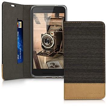 kwmobile Funda para LG Google Nexus 5X - Carcasa de Tela y Cuero sintético - Case con Soporte en Antracita/marrón
