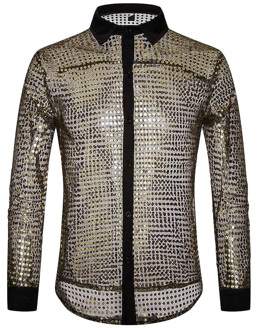 Cromoncent Mens Sequins Transparent Lapel Neck Club Irregular Button Down Shirts
