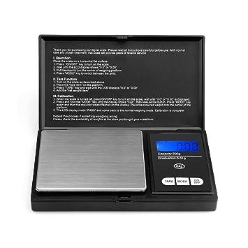 Escala de Bolsillo de precisión - 200g x 0.01g Báscula Digitales de Precisión, Básculas de cocina, Escala de joyería con Pantalla LCD y función de Tara: ...