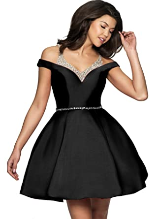 ad4d1e6767 Off The Shoulder Homecoming Dress with Pocket Short Beaded Prom Cocktail  Dresses J85 (2,