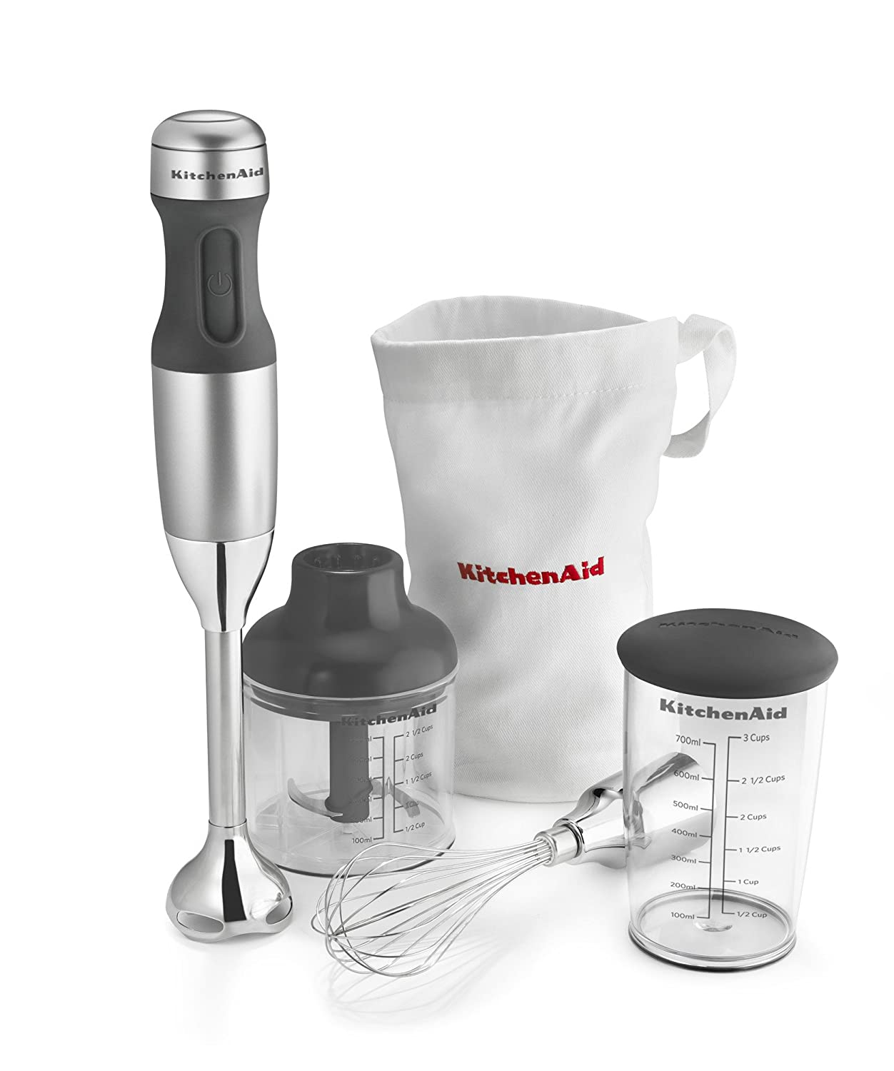 KitchenAid 3 Speed Immersion Kitchen Hand Blender Set Silver