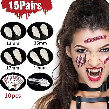 Osuter 8 Paia Denti da Vampiro Professionale 4 Taglie Vampire Fangs con Denti Adesivo Denti Vampiro per Halloween Costume Party Favori