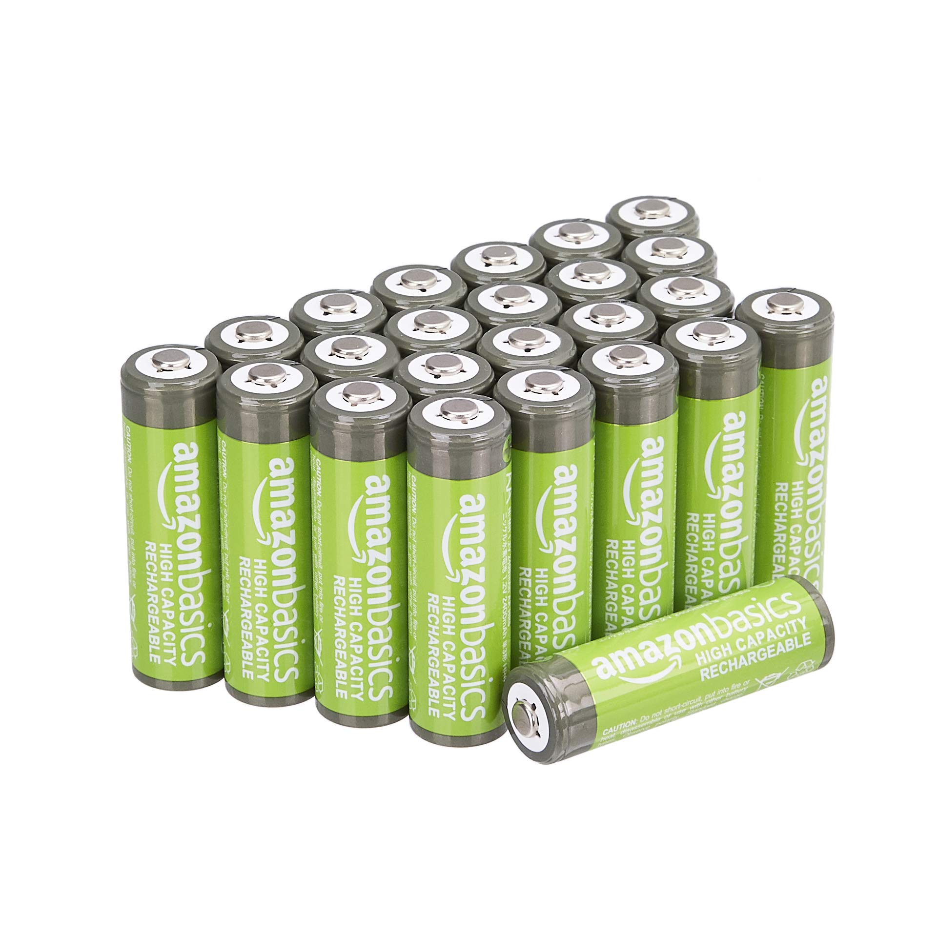 Amazon Basics AA High-Capacity Ni-MH Rechargeable Batteries (2400 mAh), Pre-charged - Pack of 24