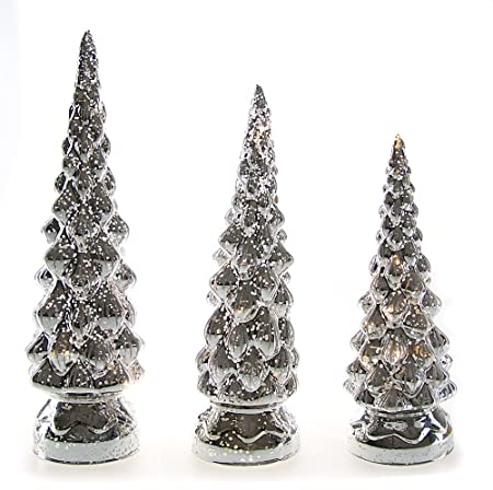 Youseexmas Lighting Up Silver Mercury Glass Christmas Tree Decoration Pack  Of 3