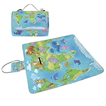 Coosun wild animals world map picnic blanket tote handy mat mildew coosun wild animals world map picnic blanket tote handy mat mildew resistant and waterproof camping mat gumiabroncs Images