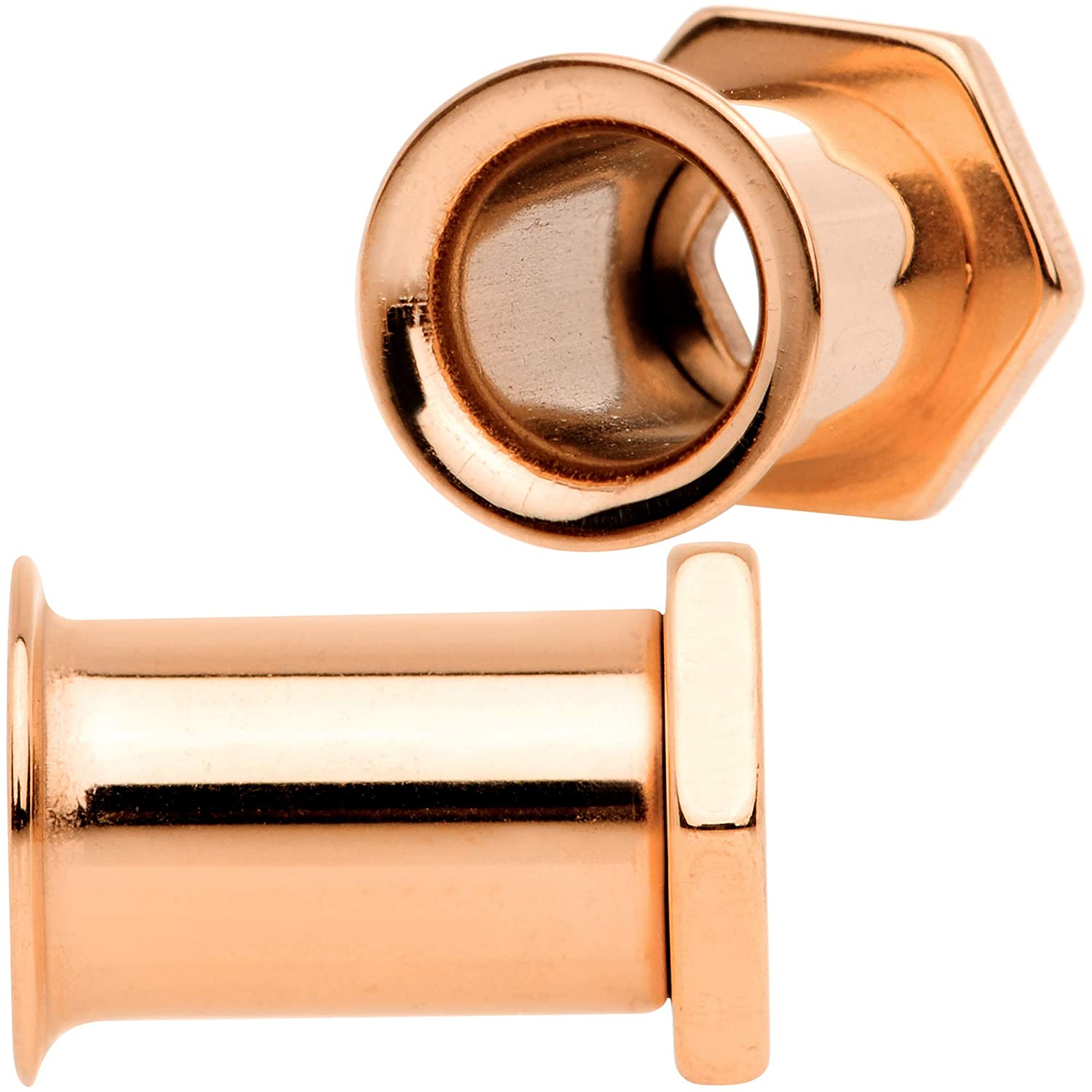 Body Candy Unisex 2Pc Rose Gold Toned PVD 316L Steel Double Flare Screw Fit Tunnels Ear Gauge Set