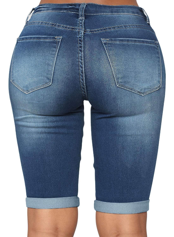 c2b5a7ba837 Aleumdr Women Jeans Pants Plus Size Casual Slim Fit Roll Up Cuffs Stretch  Denim Bermuda Shorts(S-2XL) at Amazon Women's Clothing store: