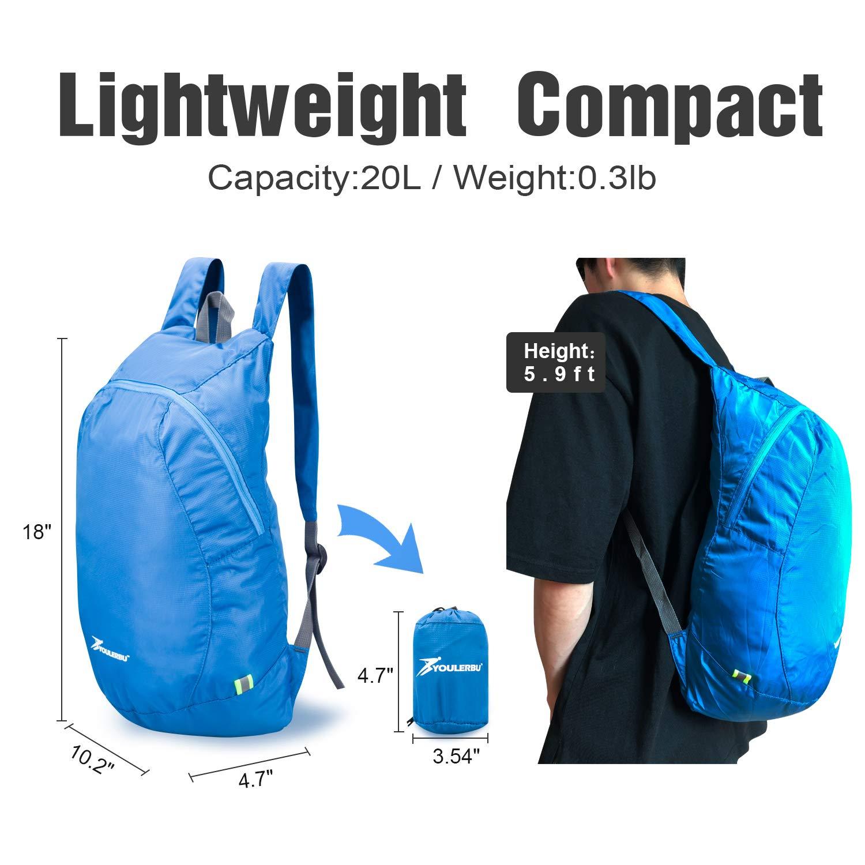 YOULERBU Lightweight Packable Backpack, Travel Hiking Daypack, Camping Backpack for Men Women