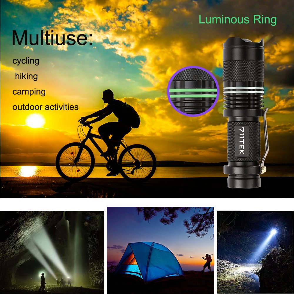 Flashlights, 711TEK 7W Mini LED Flashlight 300 Lumen Adjustable Focus Zoom Tactical Flashlight (2 Pack) (2)