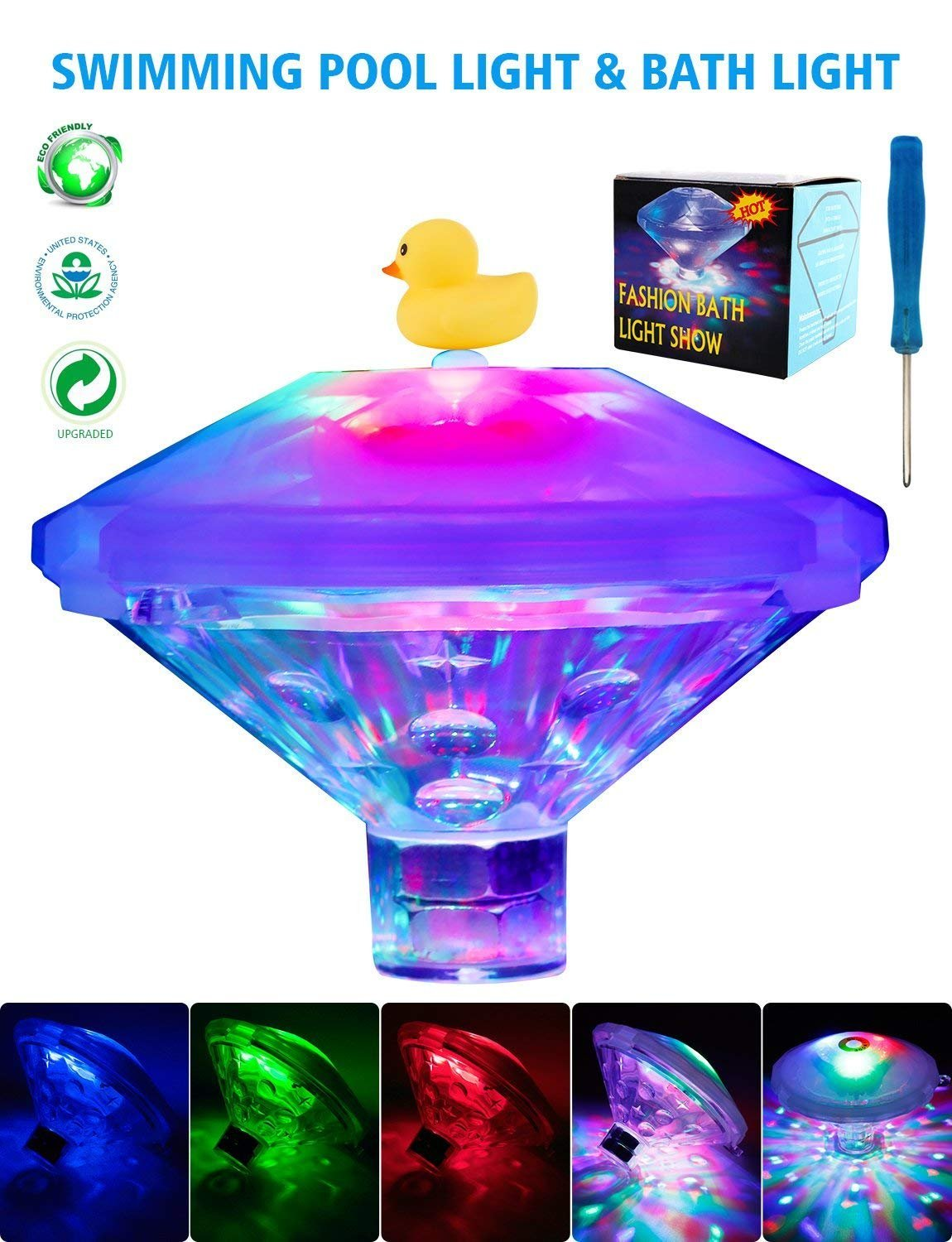 South Bend Swimming Pool lights,Baby Bath Lights,Colorful Bath Toys with 7 Lighting Modes,Waterproof Floating Pond Light/Bulb for Pool,Fountain or Party Decorations[NEW VERSION]