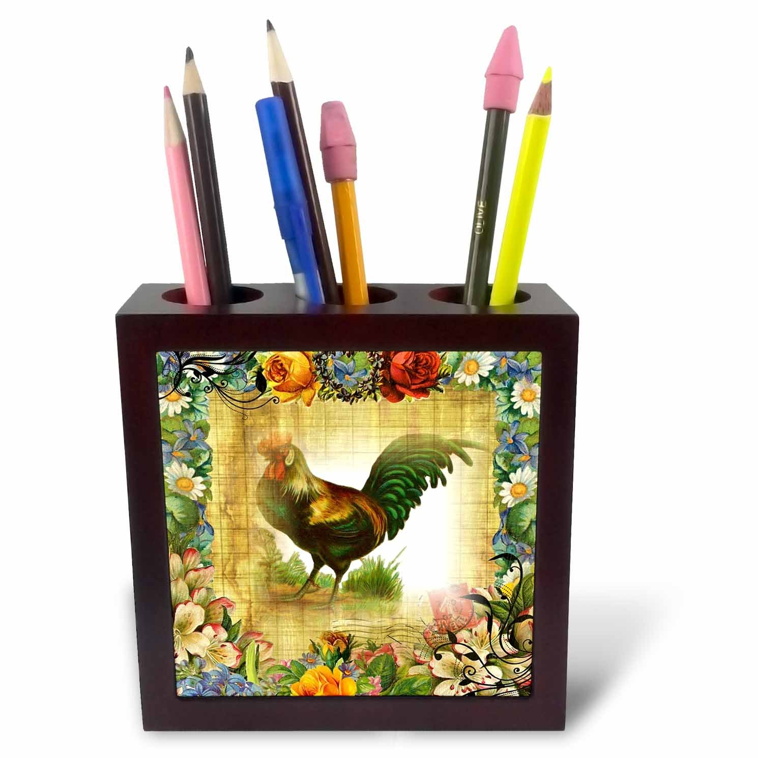 3dRose image of Country Rooster on Flowered Old Postcard-Tile Pen Holder, 5'' (ph_224341_1)