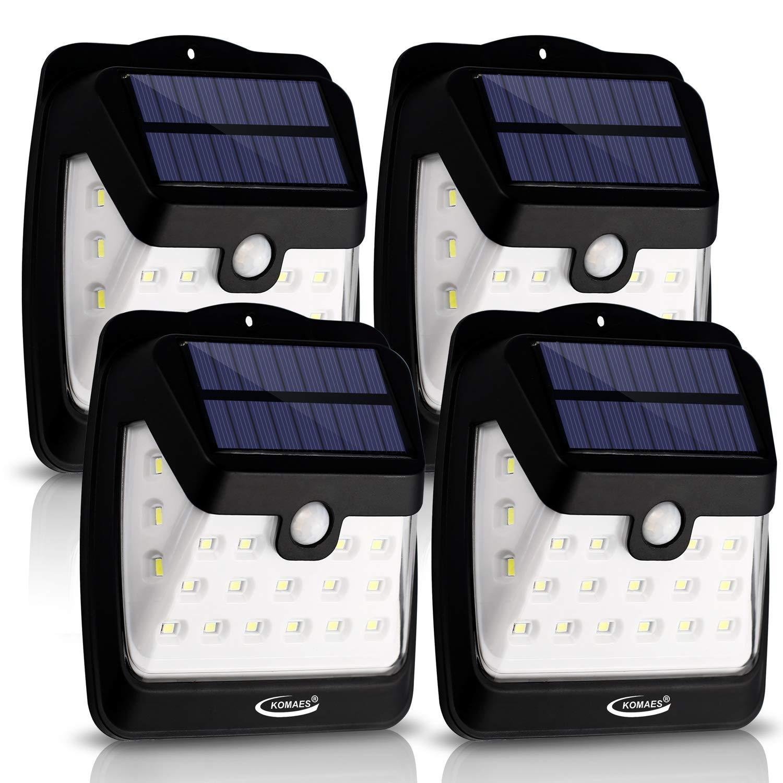 Solar Wall Lights, KOMAES 21 LED Solar Lights Outdoor,Solar Powerd Super Bright,Wireless Waterproof,Sensitive Security Motion Sensor Lights for Front Door,Garage,Patio, Deck, Yard, Garden- 4 Packs