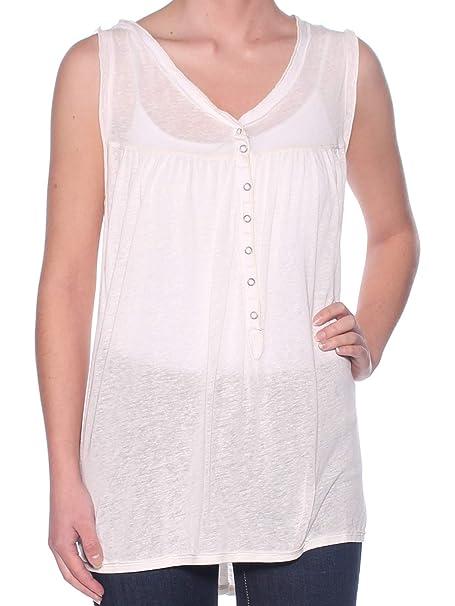 c654e2973ad Amazon.com  We The Free Womens Linen Blend Sleeveless Tank Top Ivory S   Clothing