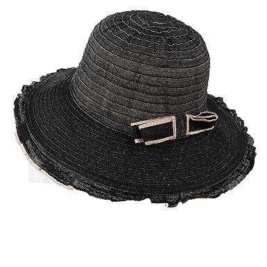 305cc9387e8 AOBRITON Summer Hat for Women Ladies Bow Wave Brim Sun Hat Female Sunscreen  Beach Panama