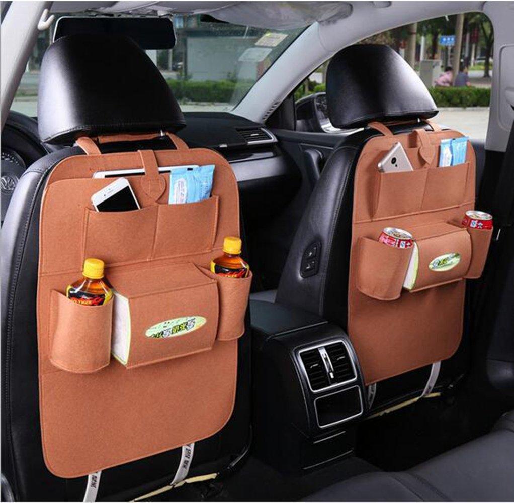 Geekercity 1 Pack Car Back Seat Organizer Woolen Felt Auto Backseat Kick Mat Protectors Storage Bag Pouch for Kids, Bottles, Tissue Box, Toys, iPad, Tablet, Books, Glasses, Cellphone (Black)