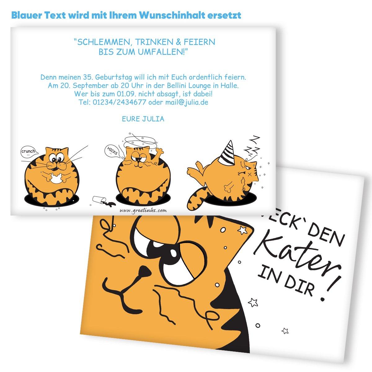 Einladungskarten Geburtstag Geburtstag Geburtstag Kater   40 Stück   Inkl. Druck Ihrer Texte   Katze   Einladungskarten zum Geburtstag   Geburtstagskarten   Individuelle Einladungen   Lustige Einladungskarte B076KFRGNR | Lebhaft  | Lass unsere Waren in die Welt gehen  | fca0ba