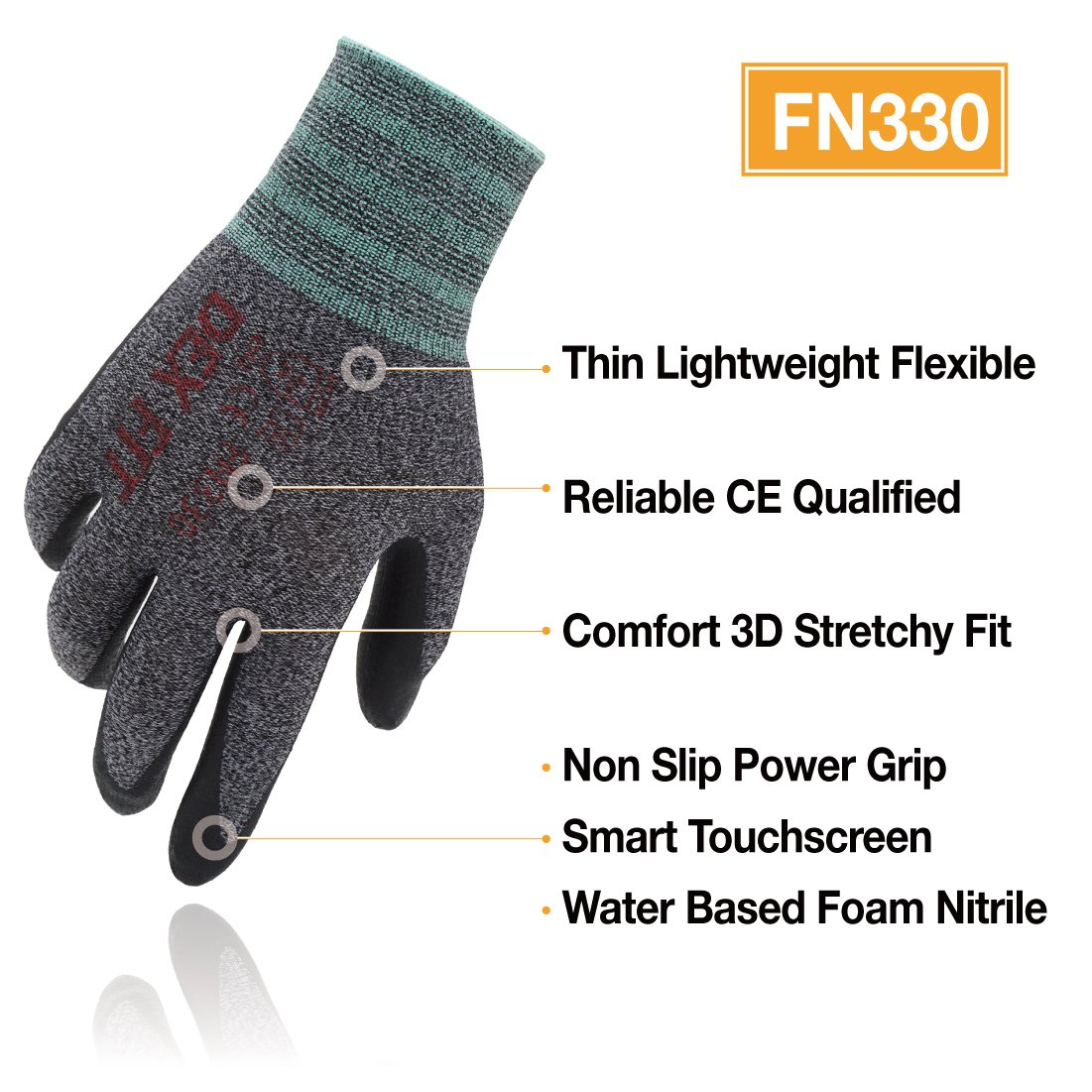 Large 3 Pairs 3D Comfort Stretch Fit DEX FIT Grey Work Gloves FN320 Power Grip Durable Foam Nitrile Coated Performance Cool Thin /& Lightweight Nylon Machine Washable
