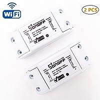 Interruttore senza fili, HEANTTV 2 pezzi sonoff switch temporizzatore remoto-controllato da wifi per lampada/ventilatore elettrico/elettrodomestico, interruttore intelligente per casa fai da te da iPhone Android (singolo canale)