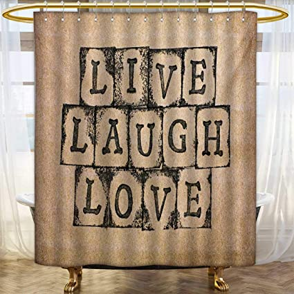 Lacencn Live Laugh LoveShower Curtains FabricBlack Alphabet Stamps On Aged Grungy Looking
