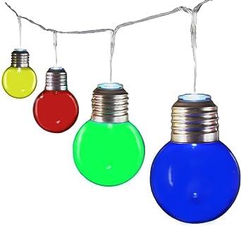 Gadgy ® Guirnalda Luces Colores | Cadenas de 25 Bombillas LED Plástico | Luces Para Patio Fiesta Jardin | Prueba de Salpicaduras usan Interiores| 10 Metros | Bajo Consumo Energia: Amazon.es: Iluminación