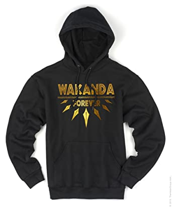 b1e9aaa3a Amazon.com: Wakanda Forever Gold Foil Men's Black Hoodie (Large ...