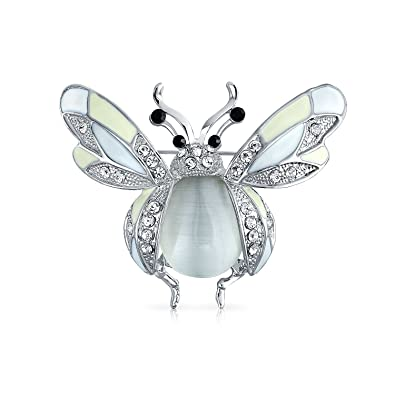 6d2f73a08 Bling Jewelry White Enamel Crystal Sparkle Honey Bee Insect Brooch ...