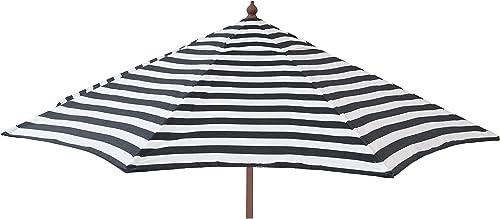 DestinationGear 1441 Euro Wood Patio Umbrella Acrylic Stripe Black and White